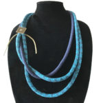 Blue and Dark Blue Quilted Corded Necklace
