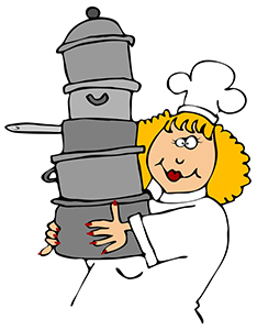 Cartoon of woman holding pots