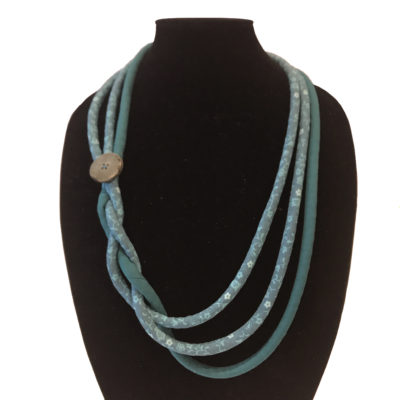 Quilted corded green necklace designed by Karen Little