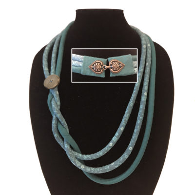 Quilted corded green fabric necklace designed by Karen Little