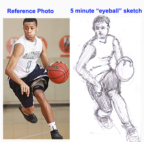 Example of freehand sketch using photo reference