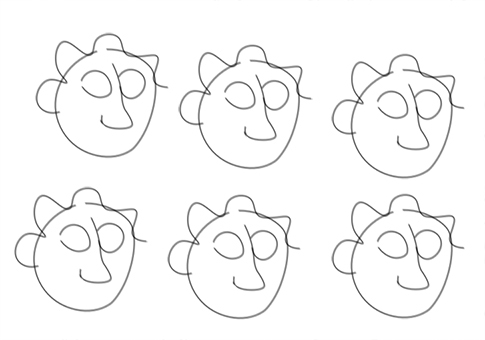 Creating emotions on cartoons - blank faces