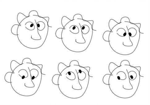 Creating emotions on cartoons - blank faces with eyeballs