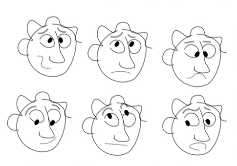 Creating emotions on cartoons - blank faces with eyeballs, eyebrows, and mouths