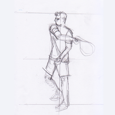 Example of a preliminary action sketch by Karen Little