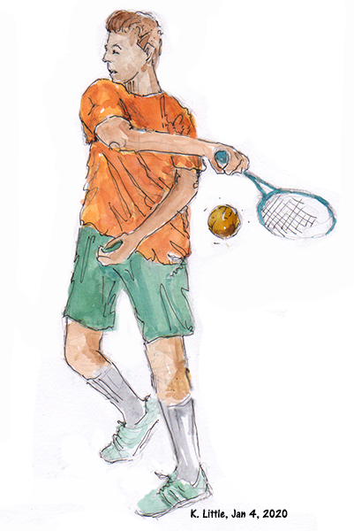 Sketch of many playing tennis to illustrate action sketching by Karen Little