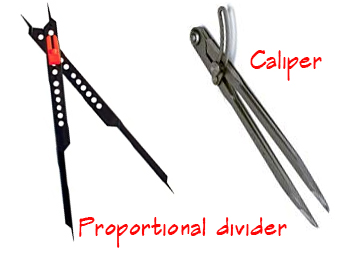 Picture of a proportional divider and artist's drawing caliper