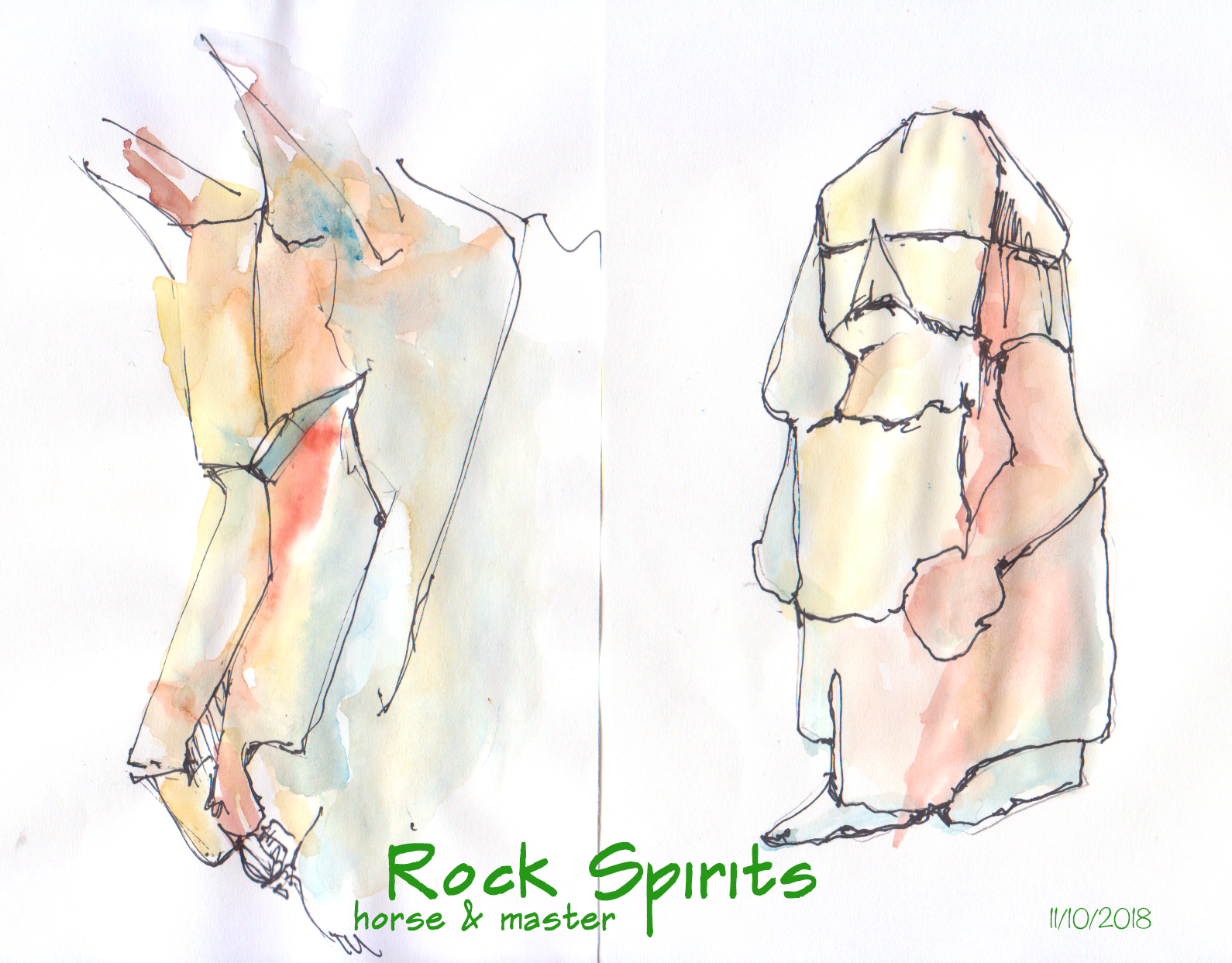 painting of rock spirits by Karen Little 2018